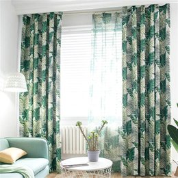 Red pRinted cuRtains online shopping - Tropical Printed Blackout Curtains for Living Room Green Leaves Palm Tree Tulle Veil Liner Cortinas Bedroom Window Treatments