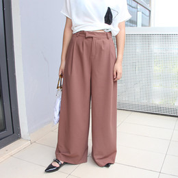 $enCountryForm.capitalKeyWord Australia - 2019 autumn new Korean version of the high waist large belt decoration mopping wide leg pants Loose women's long pants casual pants women