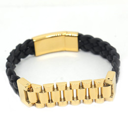 23cm Silver Bracelets Australia - Bangles Stainless Steel Leather Bracelet Men Jewelry Punk Men Bracelet Black 23cm Charms Fashion Bangles 4 color options
