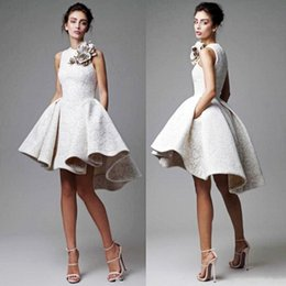 Handmade lace flower cocktail dresses online shopping - High Low Short Lace Prom Dresses Jewel A Line Handmade Flowers Cocktail Party Dress Back Zipper Saudi African Formal Evening Gowns