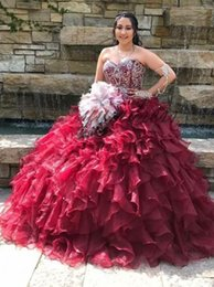 $enCountryForm.capitalKeyWord Australia - Burgundy Prom Dresses 2019 Sweetheart Neck Floor Length Beaded Piping Ball Gown Plus Size Quinceanera Dress robes de soirée