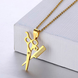 $enCountryForm.capitalKeyWord NZ - Hip Hop Trendy Haircut Scissors Pendant Necklace Gold Color Stainless Steel Chain Necklaces for Men Women Barber Shop Jewelry