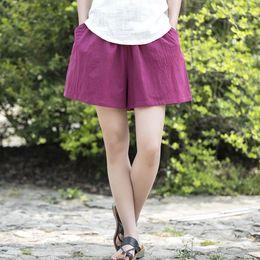 0adedcb85ec6 Cotton Linen Elastic Waist Women Shorts Skirts Solid White Blue Loose Casual  Summer Shorts Plus Size Women Vintage Shorts B120 Y190429