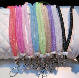 Wholesale Crystal Lanyard Necklace ID Badge Mobile Cell Phone Keychain Glitter Cord Strap Lanyard Necklace Keychain Holder LJJK1156