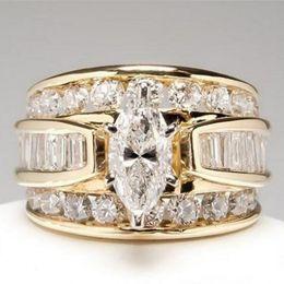 $enCountryForm.capitalKeyWord Australia - Hot Sale New Arrival Luxury Jewelry 925 Silver&Gold Fill Marquise Cut White Topaz CZ Diamond Party Women Wedding Bridal Ring for Birthday Gi