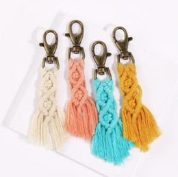 voice recording keychain Canada - Vintage Bohemia Cotton Macrame Keychain New style tassel key chain pure handmade creative cotton thread tassel key chain accessories manufac