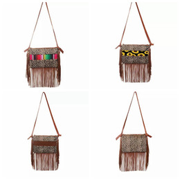 Leopard Fringe Messenger Bag striped sunflower patchwork Tassel Crossbody Bag Women Hippie Tassel Handbag party favor LJJA3675-13 on Sale
