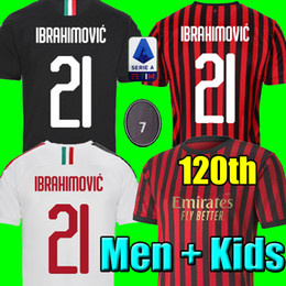 Chinese  19 20 IBRAHIMOVIC AC Soccer milan Jersey 120 Years PIATEK SUSO 2020 Football Shirt Mens Kids Kit sets uniform PAQUETA Long sleeve Jersey manufacturers