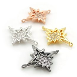 $enCountryForm.capitalKeyWord Australia - 23*19*3mm Micro Pave Clear CZ Eight Pointed Star Charm Connectors Fit For Men And Women Making Bracelets Jewelry