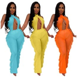 Wholesale Womens jumpsuits rompers fashion ruffle pant new style hot selling swimsuit fashion solid sexy backless swimwear klw1602
