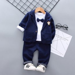 Korean Kids Suits Australia - Boys dresses baby kids wear 2019winter new children's striped suits Korean casual 3pcswinter boys boutique clothing manufacturers toddler