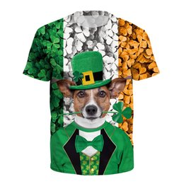 St.Patrick's Day Camisa de manga corta Goose Chewie Cat Casual Moda Hombre Ropa Camisetas Tops B121-255