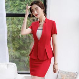 Skirt Suit Plus Australia - Summer Clothes For Women Formal Uniform Designs Set Jacket Women Red Blazer Mulher Elegant Business Skirt Suit Plus Size