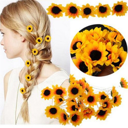 $enCountryForm.capitalKeyWord NZ - 10Pcs Wedding Bridal Hair Pin Yellow Sunflower Hair Clips Daisy Hair Cuff Clip Headband Accessories Slide New