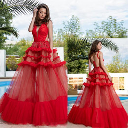 $enCountryForm.capitalKeyWord Australia - 2019 Sexy Red Ball Gown Prom Dresses V Neck See Through Back Tiered Tulle Skirt Red Carpet Gown Organza Floor Length Pageant Dress