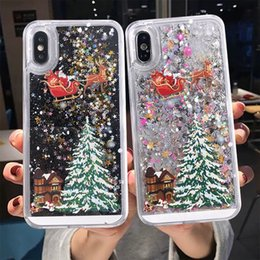 Dynamic glitter case black iphone online shopping - Shining glitter Quicksand Christmas Tree Liquid phone case For iPhone X XS Max Plus Fashion Bling Dynamic Back Cover