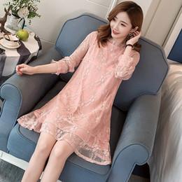 1a6f6efec63 Fashion Maternity Lace Nursing Dress Autumn Pregnant Women Elegant Breastfeeding  Clothes Long-sleeved Breast Feeding Dress