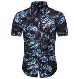 Polyester Short Sleeve Shirts Men Australia - 2019 New Casual Fashion Individuality Beach Wind Print Large Size Man Loose Square Collar Short Sleeve Party Shirt
