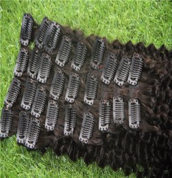 hair weaving clips Canada - Natural Color Clip In On Hair Extensions Mongolian Afro Kinky Curly Weave Remy Hair Clip In 12Pcs Set 100% Human Hair Weave