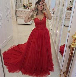 White Gown Sleeveless Red Ribbon Waist Australia - Red Prom Dresses 2019 V-Neck Straps Bead Waist Tulle Evening Gowns Cocktail Party Ball Bridesmaid Dress Special Occasion Formal Gown