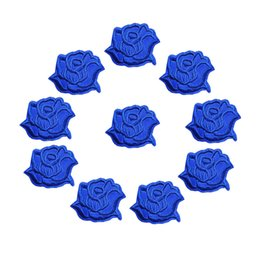 Chinese  10PCS Embroidered Sew Iron On Patches Royal Blue Rose Flowers Badges 4CM For Jeans Tablecloth Dress Shirt DIY Appliques Craft Decoration manufacturers