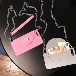 Phone Chain For Iphone Australia - For Iphone Xr Xs Max Phone Case Card Wallet Metal Long Chain Crossbody 6 7 8 X Plus Silicone Soft Cell Phone Cases