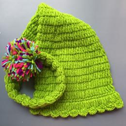 Baby Elf Crochet Australia - Crochet Baby Elf Hat,Handmade Knit Baby Boy Girl Green Stocking Hat with Pom Pom,Infant Spring Winter Beanie,Newborn Photo Prop