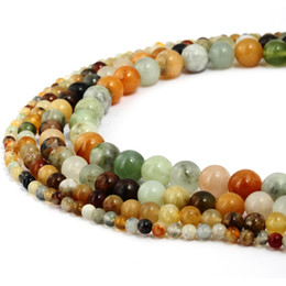 jade beads loose stones UK - Natural Stone Multi Color Jade Beads Round Gemstone Loose Beads for DIY Bracelet Jewelry Making 1 Strand 15 Inches 4-10 mm
