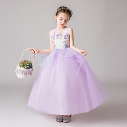 Chinese Evening Clothes Australia - Retail girls evening dress floral appliqued pearl beading lace mesh wedding dresses children party skirts girls luxury boutique clothing