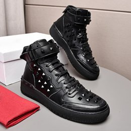 $enCountryForm.capitalKeyWord Canada - Italy Luxury Genuine Leather Breathable Fashion Hook Loop man Shoes Rivet High top lace UP Round Toe Trend mans Casual shoes Drop Ship