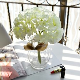 Real Fake Flowers Australia - 3 Forks Bouquet Artificial Hydrangea Ball Flowers Silk Real Touch Fake Flowers for Home Garden Farmhouse Decorations Floral