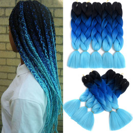 $enCountryForm.capitalKeyWord Australia - Jumbo Braids Hair Ombre Kanekalon Crochet Braiding Synthetic Hair Extension For Braids Blue Pink 24 inch 100g Pack