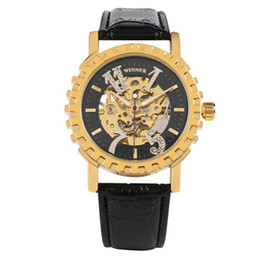 Luxury Watches Oversize Australia - Luxury Skeleton Watch for Men,Stainless Steel Mechanical Wristwatch with Oversize Numbers for Friends,Transparent Golden Gear