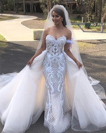 Mermaid Wedding Dresses Prices Australia - Hot Sweetheart beaded Mermaid Lace Wedding Dresses Removable Chapel Train luxury saudi Bridal Gown Buttons back Affordable wholesale price
