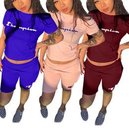China Champions Letter Print Women Tracksuit Designer T-shirt Top + Short Pants 2pc Clothing Set Outfits Summer Shorts Jogging Sports Suits B3043 supplier girls autumn 2pc suit suppliers