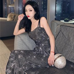 Sexy High Waisted Fashion Pants NZ - Fashion Shining Set Two-piece Sexy Women Sling Loose beam casual pants Suit Fashion Sexy Temperament High Street Comfort High Quality