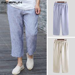 Drawstring Trousers Australia - INCERUN 2019 Mens Pants Solid Color Loose Joggers Drawstring Streetwear Vintage Sweatpants Men Casual Straight Trousers S-5XL