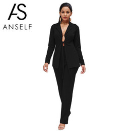 $enCountryForm.capitalKeyWord NZ - New Sexy Two Piece Set Women Business Shirt Pants Set Open Front Tied Waist Long Sleeves Blazer Casual Leggings Office Lady Suit