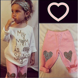 $enCountryForm.capitalKeyWord Australia - Baby Girl Kids Top Stylist Casual Long Sleeves T Shirt+Leggings Pink Heart Pant Outfit Set 0-5Y Clothes Xmas SS