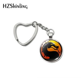 electronic gifts for men Australia - New Fashion Dragon Heart Keyring Mortal Kombat Glass Cabochon Jewelry Handmade Jewelry Bag Holder for Women Men Gifts
