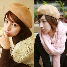 f785a35d8f21d Berets Bluelans Solid Color Warm Wool Winter Women Girl Beret French Artist Beanie  Hat Ski Cap. AU ...