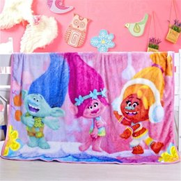 $enCountryForm.capitalKeyWord Australia - Kids Flannel Trolls Blankets Flannel infant Swaddling Winter Warm Blankets cartoon baby bed sheet Sleeping Bag
