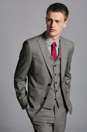 $enCountryForm.capitalKeyWord Australia - New Fashionable Two Button Grey Groom Tuxedos Peak Lapel Groomsmen Best Man Mens Wedding Suits (Jacket+Pants+Vest+Tie) 680