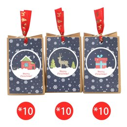 kraft christmas bag Australia - 30pcs Kraft Paper Christmas Bags Christmas Pattern Square Bottom Bag European Dining Candy Biscuit Packing Paper Bag
