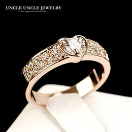 $enCountryForm.capitalKeyWord Canada - Rose Gold Color Sweet Heart-shaped Clear Zirconia Prong Studded Lady Finger Ring Wholesale Fashion Accessories