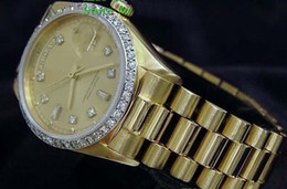 Gems diamond online shopping - Brand New Quality Day Date President k Yellow Gold Watch w Gold Diamond Dial Bezel Men s Sport Wrist Watches Automatic Mens Watch