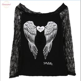 hot back blouse UK - 2020 Hot Sale Blouse Womens Angel Wings Back Printing Long Sleeve Loose Prints Shirt Casual Lace Off Shoulder Blouse Cotton Tops