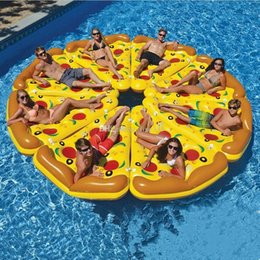 ball chairs Canada - Inflatable Floating Water Bed Boad Pizza Inflatable Water ummer Water Floating Row wimming Pool Lounger Float Relax Floating Chair Air Bed