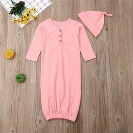 $enCountryForm.capitalKeyWord Australia - Newborn Infant Toddler Baby Boy Girl Unisex Long Sleeve V-Neck Button Solid Wrap Cotton Sleeping Bag Hat 2Pcs Costume