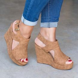 Discount casual men elegant shoes - wholesale Summer Women Platform Shoes Wedge Heels Sandals Fashion Solid Concise Female Elegant Peeps Comfortable Sandals